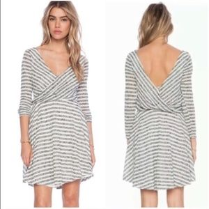 NWT Free People Cream Comb Striped Dress Size S